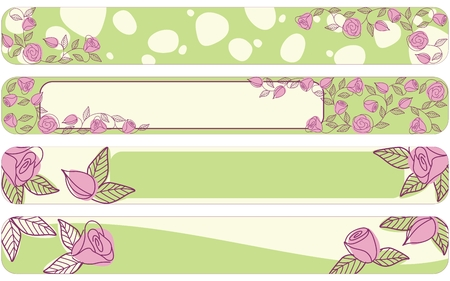 Hand drawn banners with a fresh springtime color scheme, Full Banner format.  Illustration