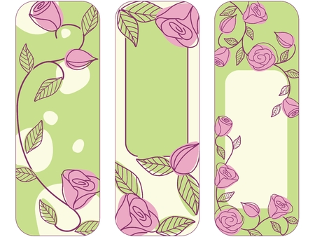 Hand drawn vertical banners with a fresh springtime color scheme. Illustration
