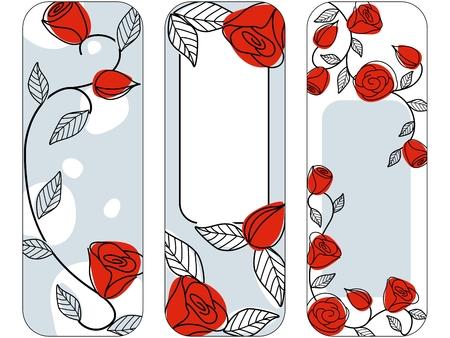 Main dessiné les bannières verticales avec un jeu de couleurs classique.  Banque d'images - 6347051