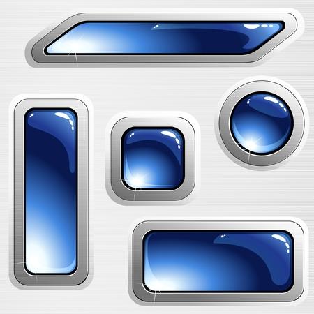 Colección de botones brillante azul con un armazón de acero cepillado. Se agrupan los gráficos y en varias capas para facilitar la edición. El archivo se puede escalar a cualquier tamaño. Ilustración de vector