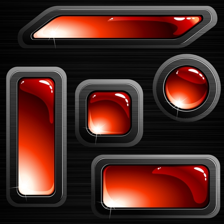 Collection of red glossy buttons with a brushed steel frame. Graphics are grouped and in several layers for easy editing. The file can be scaled to any size. Vector