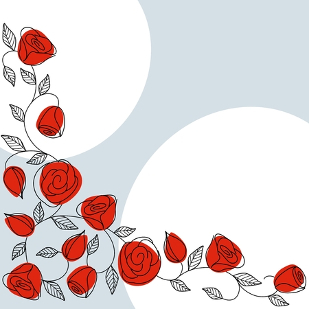 Background with hand drawn roses in a classic color scheme. Graphics are grouped and in several layers for easy editing. The file can be scaled to any size. Ilustracja