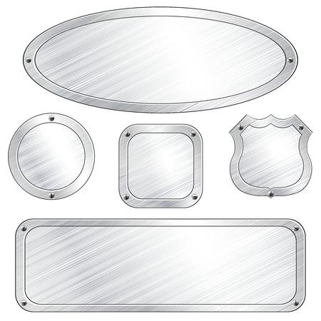 De collectie van metalen platen met schroeven. Afbeeldingen worden gegroepeerd en in verschillende lagen voor eenvoudige bewerking. Het bestand kan worden geschaald naar elk formaat.