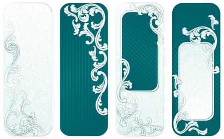 rococo style: Cuatro verticales pancartas inspirados en el estilo rococ� franc�s. Se agrupan los gr�ficos y en varias capas para facilitar la edici�n. El archivo se puede escalar a cualquier tama�o.