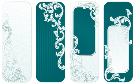 Four vertical banners inspired by French rococo style. Graphics are grouped and in several layers for easy editing. The file can be scaled to any size. Vector