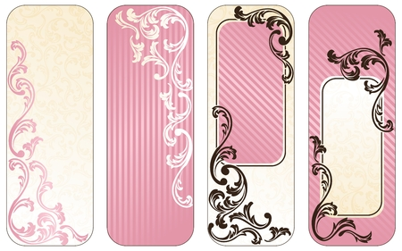 Four vertical banners inspired by French rococo style. Graphics are grouped and in several layers for easy editing. The file can be scaled to any size.