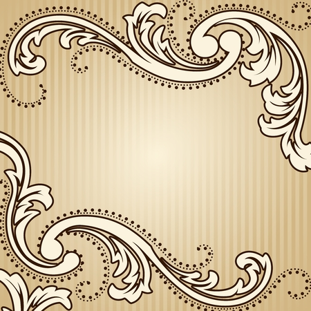 Elegant square sepia tone background inspired by Victorian era designs. Graphics are grouped and in several layers for easy editing. The file can be scaled to any size.