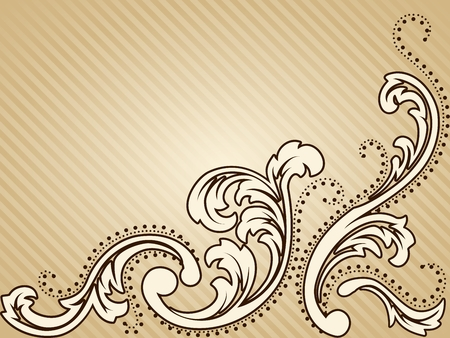 Elegant horizontal sepia tone background inspired by Victorian era designs. Graphics are grouped and in several layers for easy editing. The file can be scaled to any size. Vector