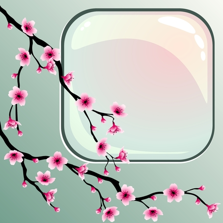 A background with cherry blossoms. Graphics are grouped and in several layers for easy editing. The file can be scaled to any size. Vector