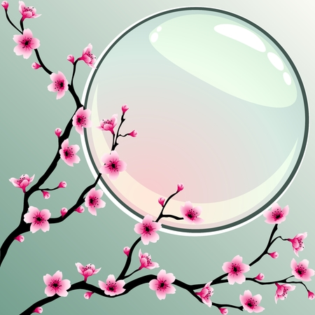 plum blossom: A background with cherry blossoms. Graphics are grouped and in several layers for easy editing. The file can be scaled to any size.