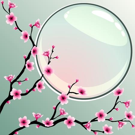Ein Hintergrund mit Kirschblüten. Die Grafiken sind gruppiert und in mehrere Ebenen unterteilt, um die Bearbeitung zu vereinfachen. Die Datei kann auf jede Größe skaliert werden.