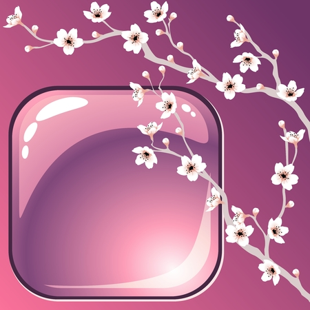 A purple background with blossoming tree branches. Graphics are grouped and in several layers for easy editing. The file can be scaled to any size. Illustration