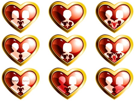 Set of heart-shaped icons of different types of modern families.   Vector
