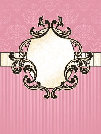 Elegant oval pink and gold label inspired by Rococo era designs. Graphics are grouped and in several layers for easy editing. The file can be scaled to any size.