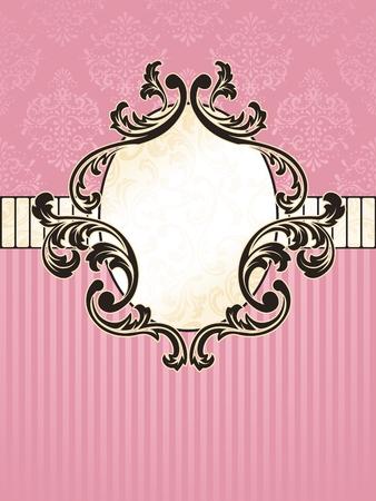 �valo: Elegante oval rosa y oro etiqueta inspirado por los dise�os de la �poca rococ�. Se agrupan los gr�ficos y en varias capas para facilitar la edici�n. El archivo se puede escalar a cualquier tama�o.