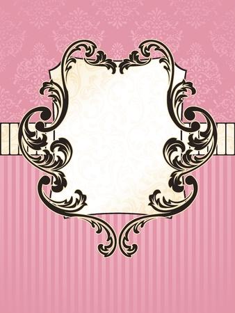 エレガントな長方形ピンクとゴールド ラベル ロココ時代のデザインに触発さ。グラフィックをグループ化および簡単な編集のためのいくつかの層。
