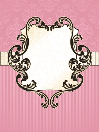baroque border: Elegant rectangular pink and gold label inspired by Rococo era designs. Graphics are grouped and in several layers for easy editing. The file can be scaled to any size.