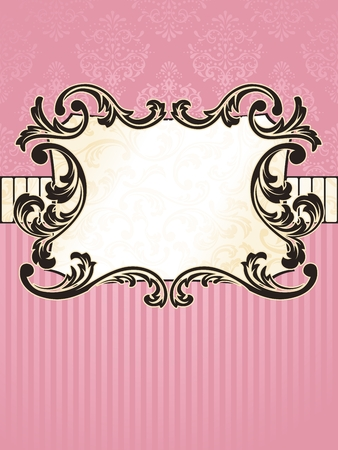 Elegant rectangular pink and gold label inspired by Rococo era designs. Graphics are grouped and in several layers for easy editing. The file can be scaled to any size. Stock Vector - 6568879