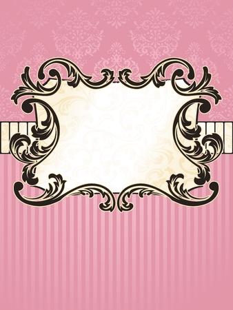 french label: Elegante rectangular rosa y oro etiqueta inspirado por los dise�os de la �poca rococ�. Se agrupan los gr�ficos y en varias capas para facilitar la edici�n. El archivo se puede escalar a cualquier tama�o. Vectores