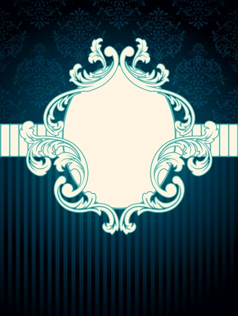 Elegant oval deep blue label inspired by Rococo era designs. Graphics are grouped and in several layers for easy editing. The file can be scaled to any size.