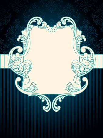 Elegant rectangular deep blue label inspired by Rococo era designs. Graphics are grouped and in several layers for easy editing. The file can be scaled to any size. Stock Vector - 6568878