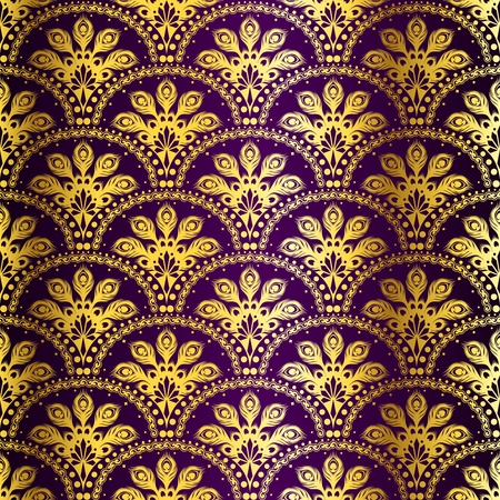 stylish background with a gold and purple pattern inspired by Indian saris.  Vectores