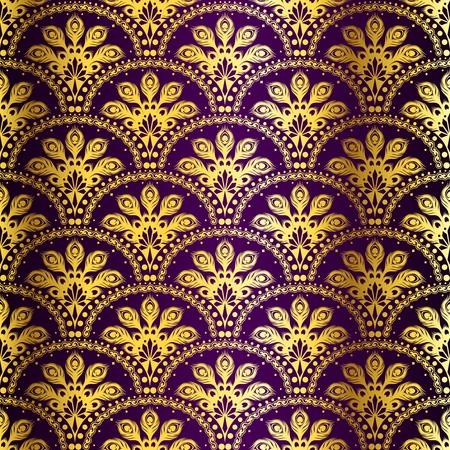 stylowy tła zainspirowany przez indyjski saris wzorkiem złota i purpurowy.
