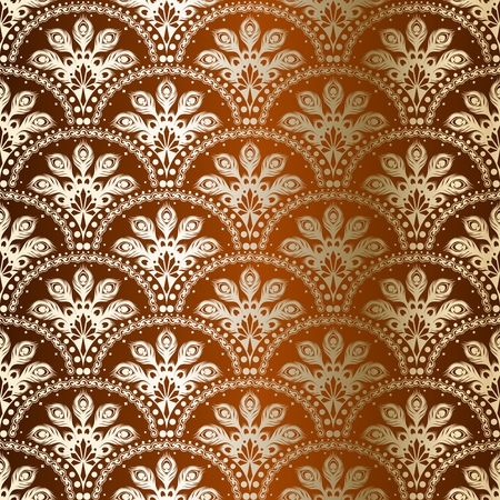 brocade: stylish background with a bronze pattern inspired by Indian saris.  Illustration