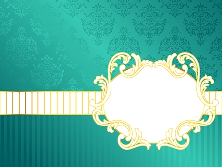 turquoise background: Elegant oval turquoise label inspired by Rococo era designs. Graphics are grouped and in several layers for easy editing. The file can be scaled to any size.