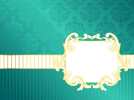 horizontal: Elegant rectangular turquoise label inspired by Rococo era designs. Graphics are grouped and in several layers for easy editing. The file can be scaled to any size.