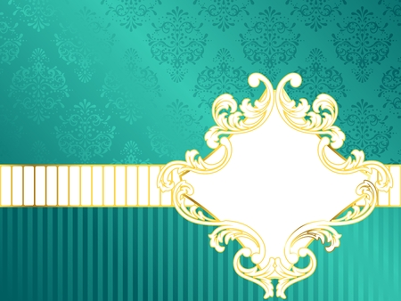 blue damask: Elegant turquoise label inspired by Rococo era designs. Graphics are grouped and in several layers for easy editing. The file can be scaled to any size.