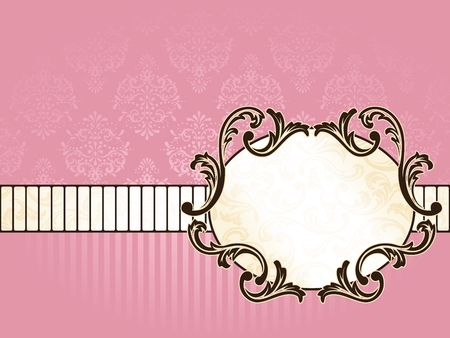 scaled: Elegant oval pink and gold label inspired by Rococo era designs. Graphics are grouped and in several layers for easy editing. The file can be scaled to any size.
