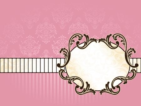 Elegante Ovaal roze goud label en geïnspireerd door de Rococo tijd perk ontwerpen. Graphics zijn gegroepeerd en in meerdere lagen voor eenvoudige bewerking. Het bestand kan op een ander formaat worden aangepast.  Stockfoto - 6659396
