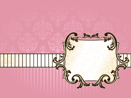 Elegant rectangular pink and gold label inspired by Rococo era designs. Graphics are grouped and in several layers for easy editing. The file can be scaled to any size. Vector