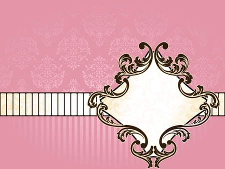 Elegant pink and gold label inspired by Rococo era designs. Graphics are grouped and in several layers for easy editing. The file can be scaled to any size. Vector