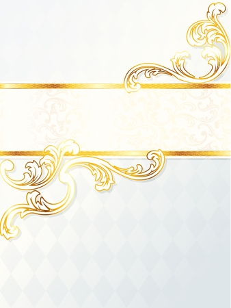 Elegant vertical white and gold wedding banner. Graphics are grouped and in several layers for easy editing. The file can be scaled to any size. Stock Vector - 6700044