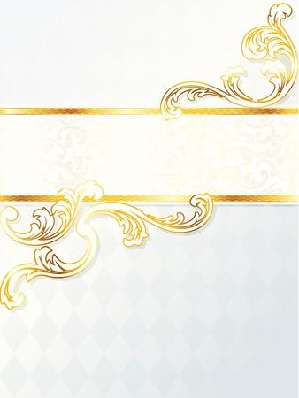 Elegante vertical blanco y oro banner de la boda. Se agrupan los gráficos y en varias capas para facilitar su edición. El archivo se puede escalar a cualquier tamaño.  Foto de archivo - 6700044