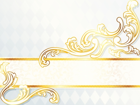Elegant horizontal white and gold wedding banner. Graphics are grouped and in several layers for easy editing. The file can be scaled to any size. Vector