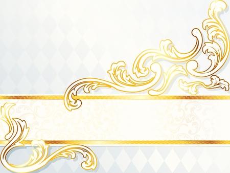 Elegante horizontale witte en gouden bruiloft banner. Graphics zijn gegroepeerd en in meerdere lagen voor eenvoudige bewerking. Het bestand kan worden geschaald naar elke grootte. Stock Illustratie