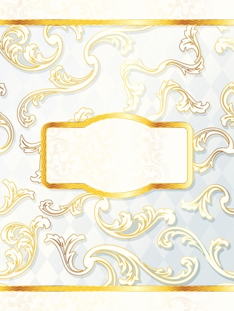 Elegant white and gold wedding label. Graphics are grouped and in several layers for easy editing. The file can be scaled to any size. Illusztráció