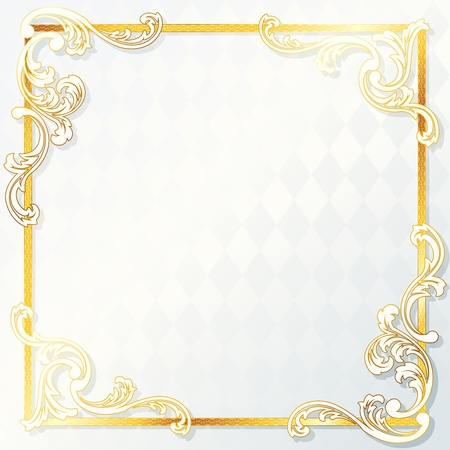 Elegant white and gold wedding frame. Graphics are grouped and in several layers for easy editing. The file can be scaled to any size. Illustration