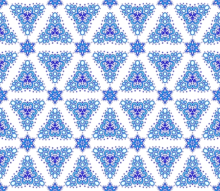 arabic motif: Seamless blue on white pattern inspired by Islamic art.