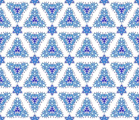 islamic pattern: Seamless blue on white pattern inspired by Islamic art.