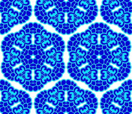 Seamless blue on white honeycomb pattern inspired by Islamic art.