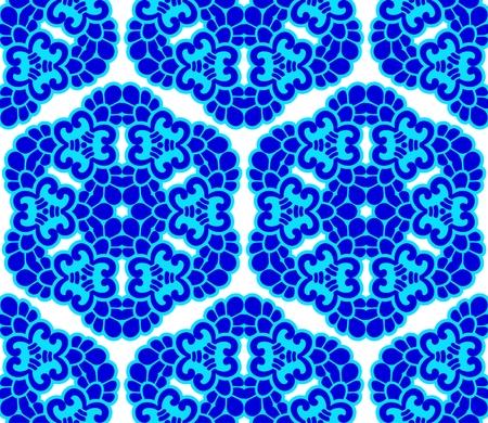 islamic pattern: Seamless blue on white honeycomb pattern inspired by Islamic art.