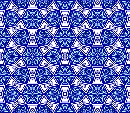 ceramic: Seamless blue on white pattern inspired by Islamic art.