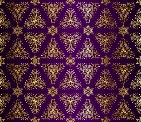 Naadloze goud op paarse patroon geïnspireerd door islamitische kunst.