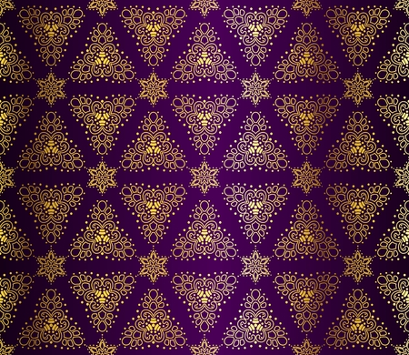 intricate: Seamless gold on purple pattern inspired by Islamic art.