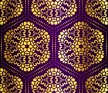 Seamless gold on purple honeycomb pattern inspired by Islamic art.   Illustration
