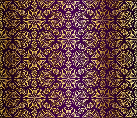 Seamless gold on purple pattern inspired by Islamic art.
